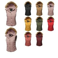 FashionOutfit Women's Casual Sleeveless Detachable Fur Hoodie Padded Vest Jacket