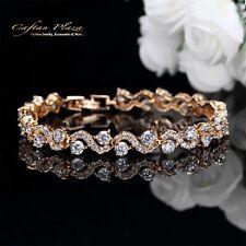 Armband Bracelet 18K Gold plt. mit Swarovski AAA Kristallen NEU 17,5