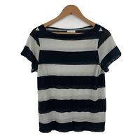 Scanlan Theodore Womens Top Size S/M Black Natural Stripe Short Sleeve