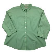 L.L. Bean Women's long sleeve button down wrinkle resistant 100% cotton size L