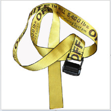 New Off White Tie Down Yellow Nylon Cotton Big IRON Head Industrial Belt
