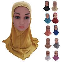 One Piece Hijab Amira Girls Kids Muslim Head Wrap Scarf Islamic Headscarf Cover