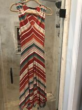 Ralph Lauren Aztec Print Dress Size Medium  Maxi Asymmetrical Hem