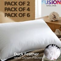 Luxury Hotel Quality Duck Feather Pillows, Comfortable 2, 4 And 6 Pack Pillow