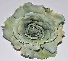 "5"" Pale Light Green Rose Silk Flower Hair Clip Wedding Handmade"