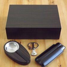 The Davenport Ebony 50 Cigar Humidor Gift Set Ashtray Cigar Case Cutter Scissors