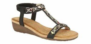 Cipriata womens jewelled slingback low wedge heel sandals 072 Col Black  sz UK 8