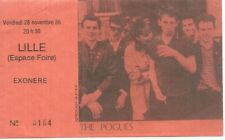 RARE / TICKET BILLET DE CONCERT - THE POGUES : LIVE A LILLE ( FRANCE ) 1986