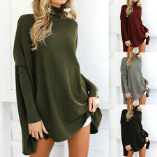 Plus Size Womens Batwing Sleeve Long Top Casual Loose Mini Dress Sweater Jumper