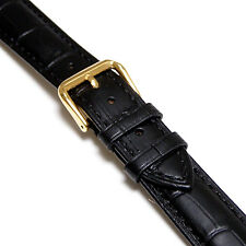 21mm Men Black Genuine Leather Watch Band Strap with Gold Buckle