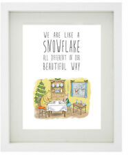 WINNIE THE POOH Christmas Quotes - Framed Print - Xmas Decorations - Snowflake