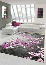 Modern Living Room Rug Contemporary Carpet Floral Grey Purple Pink Floor Mats