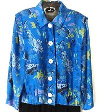 Vtg 80's Real Clothes Silk Saks Fifth Ave Jacket Sz S Abstract Blue Print Lined