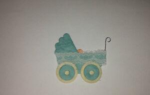 5 X BLUE/BABY BOY/ NEW BABY/BABY SHOWER PRAM SHAPED CARD TOPPER/EMBELLISHMENTS.