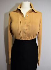 DESIGNER ARTIGIANO STRETCH JERSEY TOP WORK SHIRT PLEAT BLOUSE MUSTARD UK 8 10 36