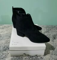 A New Day Womens Ankle Boot Size 7.5 Valerie Black Suede Shoe Memory Foam NIB..