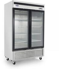 Atosa Mcf8703 Glass 2 Door Freezer S/S W/Caster Bottom Mount Compressor Led Lite