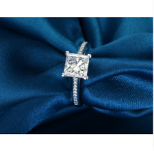 2.25 ct G-I Fancy Princess Cut Moissanite 925 Sterling Silver Engagement Ring