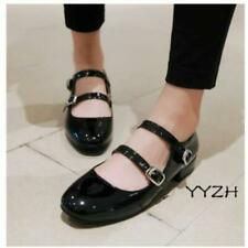 Womens Lolita Round Toe Patent Leather Buckle Casual Mary Janes Preppy Shoes New