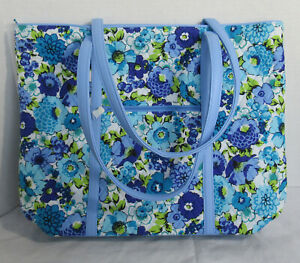 Vera Bradley Women Women's Purse Shoulder Bag TRIMMED VERA TOTE BLUEBERRY BLOOMS