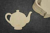10 x Wooden Teapot Shape Embellishments Decoupage Blank Craft (WX5)