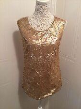 Oasis GORGEOUS Colour Gold Sequin Disc Vest Top Blouse M Medium Christmas Party