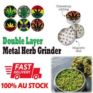 2 Layer Metal Zinc Tobacco Herb Alloy Grinder Hand Muller Smoke Crusher Spice AU