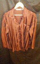Victoria's Secret Silky Button-Down Sleep Shirt Gown Lingerie Brown Stripe sz M