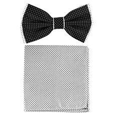 New Men's Pre-tied Bow tie & hankie set 2 tone black white check formal wedding