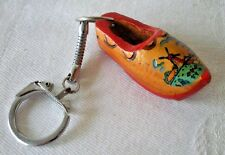 Vintage Holland Dutch Wooden Wood Shoes Handpainted Keychain Key Ring