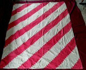 """Antique American Diagonal Red Stripe Quilt Hand Made 84"""" x 64"""""""