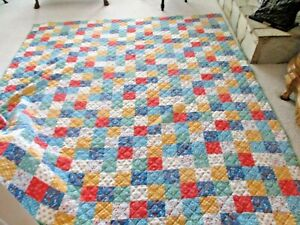 """Older 106"""" x 94""""  Quilted Bedspread Comforter-Various Floral Squares-Green Back"""