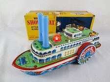 (Works) WHISTLING SHOWBOAT – Vintage Battery Operated Tin Toys – Modern TM Japan