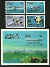 ANTIGUA BARBUDA MAIL OVERPRINT 1983 MANNED FLIGHT AIRCRAFT ZEPPELINS SET & M/SHE
