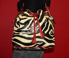 DOONEY & BOURKE ZEBRA Red Leather Tote Drawstring Bucket Hobo Purse Shoulder Bag
