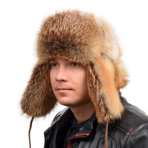 Genuine Men's Red Fox Fur Ushanka Hat V NEW Real Natural Fur Warm Winter Ski Cap