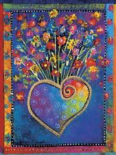 LEANIN TREE Heart Filled With Colorful Flowers Magnet #67065~ Laurel Burch Art~