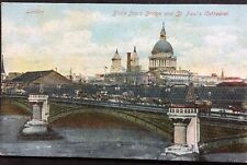 RP Vintage Postcard - London #PA9 - Black Friars Bridge & St Paul's - Glitter