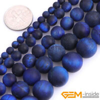 """Frosted Lapis Blue Tiger Eye Gemstone Round Spacer Beads For Jewelry Making 15"""""""