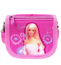 Mattel Barbie Pink Flowers Girls String Wallet/Purse/Cross Shoulder Bag for Kids