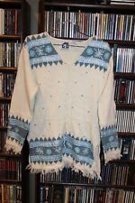 Storybook Knits for HSN white lt Blue pattern sweater fringe Ladies M (b108)