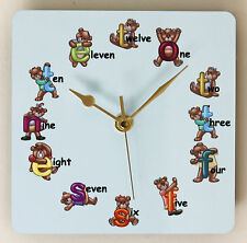 Square Wall Clock for Children with Teddy Bear Letters Size 19cm by 19cm