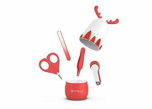 Baby Nail Care Kit, Nail Clipper, Scissors, File & Tweezers in Deer Case (Red)