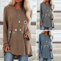Womens Long Sleeve Floral Plus Size T Shirt Casual Crew Neck Autumn Tops Blouse