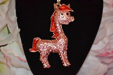 Betsey Johnson Pink Crystal Big Horse Pendant Sweater Necklace - BJ58