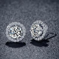 Women's 18K White Gold Plated Crystal Zircon Inlaid Ear Stud Earrings Jewelry FZ