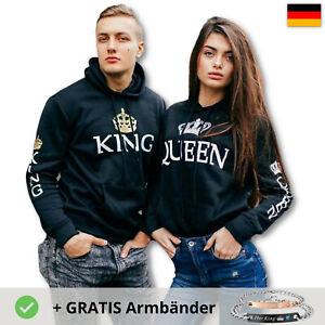 Her King His Queen Hoodie Pullover Armband Paar Geschenk Partner Couple Liebe
