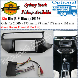 Harness + Fascia facia Kia Rio (UB) 2015+ Piano Black Double Two 2 DIN Dash Kit*