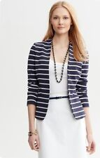 New Banana Republic Women Navy & White Knit Striped Blazer SZ 4P