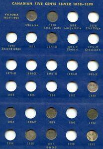 Genuine 28 Coin Silver 1858-1920 Canada 5 Cent Set in Whitman Album